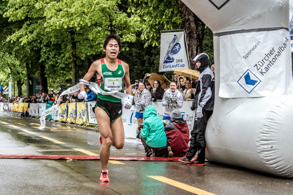 Zieleinlauf der Elite am Zurich Marathon 2016. Photo Felix Brunner alphafoto.com